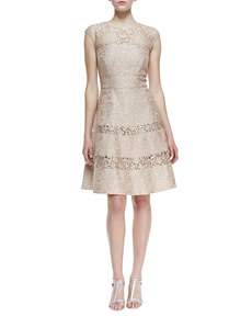 Kay Unger New York Cap Sleeve Lace Overlay Cocktail Dress, Bisque