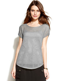 MICHAEL Michael Kors Petite Open-Knit Metallic Top
