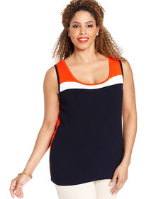 Jones New York Signature Plus Size Sleeveless Colorblocked Shell