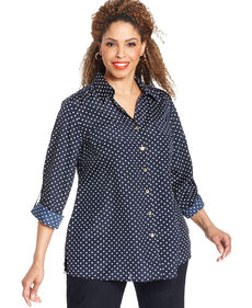 Jones New York Signature Plus Size Roll-Tab-Sleeve Polka-Dot Shirt