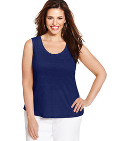 Charter Club Plus Size Linen Sleeveless Top