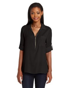 Calvin Klein Women's Long Sleeve Top With Zipper Front