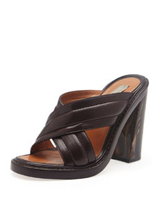 Faux-Leather Veneer-Heel Crisscross Slide, Oak   Faux-Leather Veneer-Heel Crisscross Slide, Oak