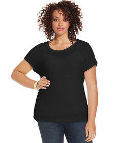 Lucky Brand Plus Size Short-Sleeve Eyelet-Back Sweater