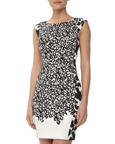 French Connection Animal Mechanical Sheath Dress, Black/Daisy White