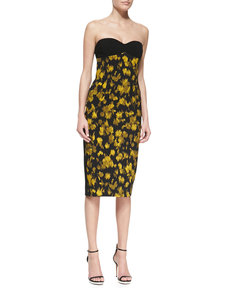 Michael Kors Leaf Crepe Bustier Dress