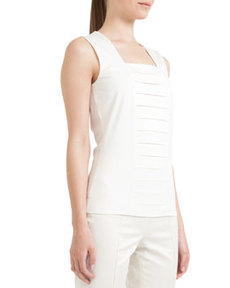 Akris punto Square-Neck Tank with Pleats, Cream
