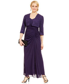 Alex Evenings Petite Sequin-Lace Ruched Gown and Jacket
