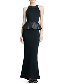 Karen Leather-Peplum Ponte Gown   Karen Leather-Peplum Ponte Gown