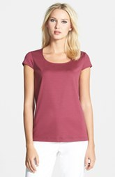 Lafayette 148 New York Charmeuse Trim Scoop Neck Tee