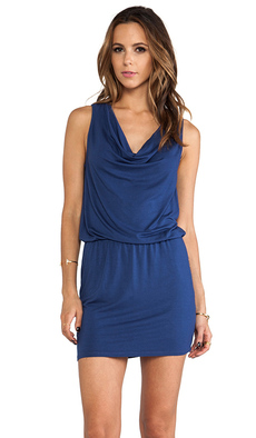 Michael Stars Katie Sleeveless Drape Neck Dress in Blue