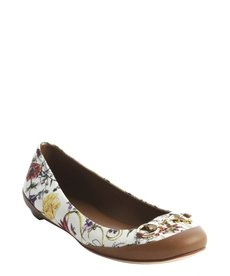 Gucci white floral canvas print buckle detail ballet flat