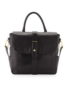 Etienne Aigner Marker Smooth Napa Leather Flap Shoulder/Tote Handle Bag, Black