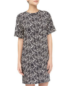 Cynthia Rowley Lace-Print Jersey Tee Dress, Black