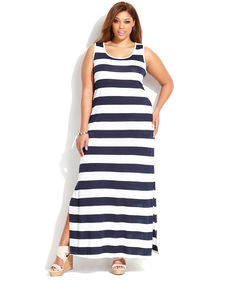 INC International Concepts Plus Size Sleeveless Striped Maxi Dress