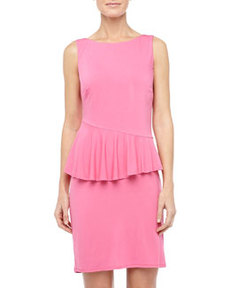Laundry by Shelli Segal Asymmetric-Peplum Jersey Dress, Neon Pink