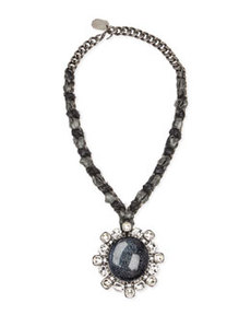 Woven Chain Cabochon & Crystal Pendant Necklace   Woven Chain Cabochon & Crystal Pendant Necklace
