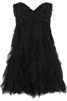 Badgley Mischka Couture crystal-embellished silk-chiffon dress