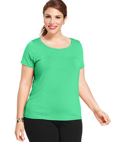 Jones New York Signature Plus Size Short-Sleeve Top