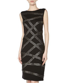 Tadashi Metallic Ribbon Criss-Cross Cocktail Dress, Black/Silver