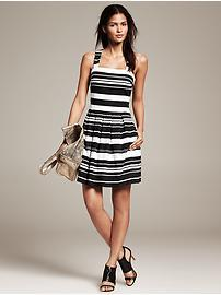 Multi-Stripe Pleated Fit-and-Flare Dress