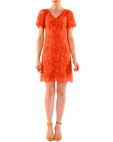 Above-Knee Short-Sleeve Lace Dress   Above-Knee Short-Sleeve Lace Dress