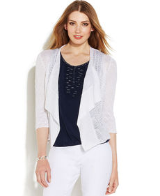 Alfani Petite Three-Quarter-Sleeve Open-Knit Linen Cardigan