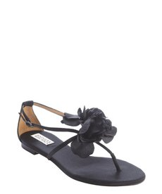 Badgley Mischka black satin rose detail strappy 'Zowie' sandals