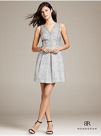 BR Monogram Textured Fit-and-Flare Dress