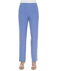 Go Silk Solid Silk Pants, Blue, Petite