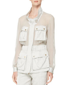 Sheer-Panel Crepe Utility Jacket   Sheer-Panel Crepe Utility Jacket