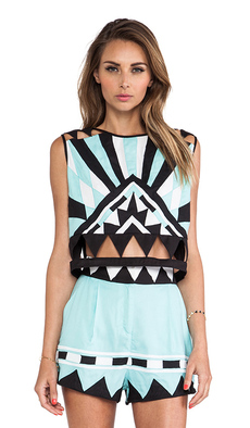 Mara Hoffman Applique Crop Top in Black