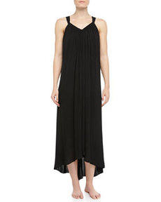 Tissue Crepe High-Low Long Tank Nightgown, Black   Tissue Crepe High-Low Long Tank Nightgown, Black