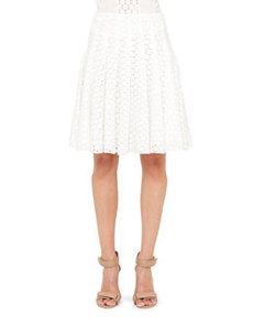 Akris punto Pleated Lace Skirt, Cream