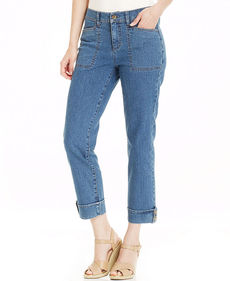 Charter Club Roll-Tab Ankle Jeans, Antique Indigo