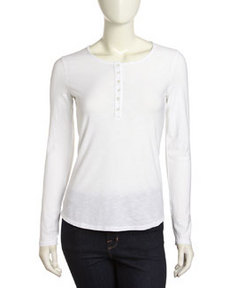James Perse Long-Sleeve Henley Tee, White