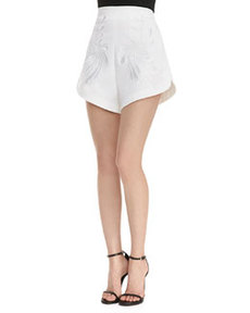 Robert Rodriguez Dandelion Embroidered High-Waist Shorts