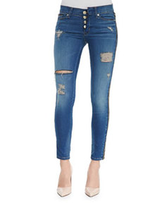 Sid Foxy Zip-Side Distressed Skinny Jeans   Sid Foxy Zip-Side Distressed Skinny Jeans