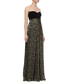 Adriana Strapless Silk Leopard-Print Maxi Dress   Adriana Strapless Silk Leopard-Print Maxi Dress