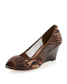 Donald J Pliner Molly Animal-Print Stretch Wedge Pump, Natural/Espresso
