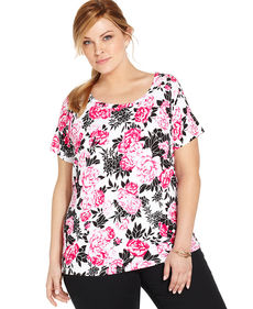 Jones New York Signature Plus Size Short-Sleeve Floral-Print Top