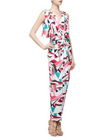 T Bags Knot-Front V Back Geometric Print Maxi Dress, Black
