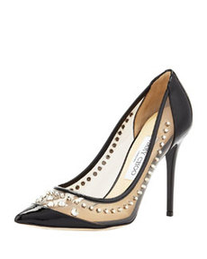 Sparkler Point-Toe Studded Pump, Black   Sparkler Point-Toe Studded Pump, Black