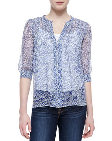 Joie Lauren Printed-Silk 3/4-Sleeve Blouse