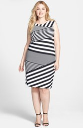 Calvin Klein Asymmetric Stripe Matte Jersey Sheath Dress (Plus Size)