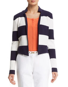 Stripe Notch Collar Jacket