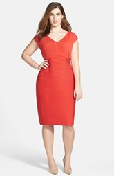 Calvin Klein Shutter Pleat Matte Jersey Sheath Dress (Plus Size)