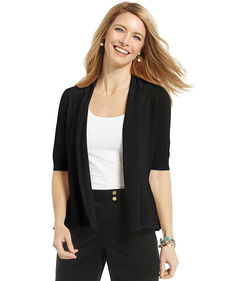 Charter Club Petite Elbow-Sleeve Peplum Cardigan