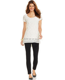 Style&co. Lace Chiffon High-Low Tunic