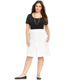 Jones New York Signature Plus Size A-Line Pleated Skirt